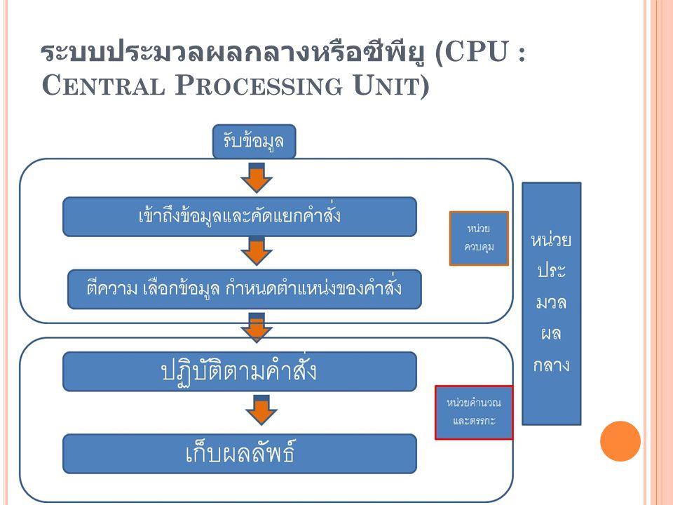 ระบบประมวลผลกลางหรือซีพียู (CPU : Central Processing Unit)