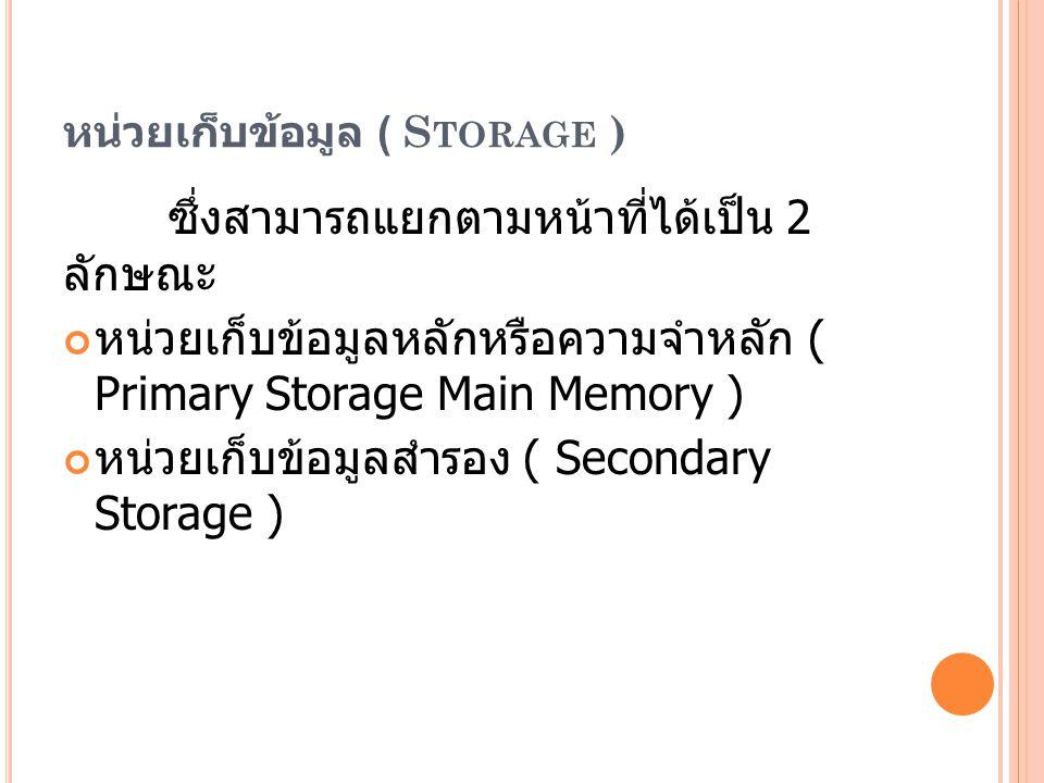 หน่วยเก็บข้อมูล ( Storage )