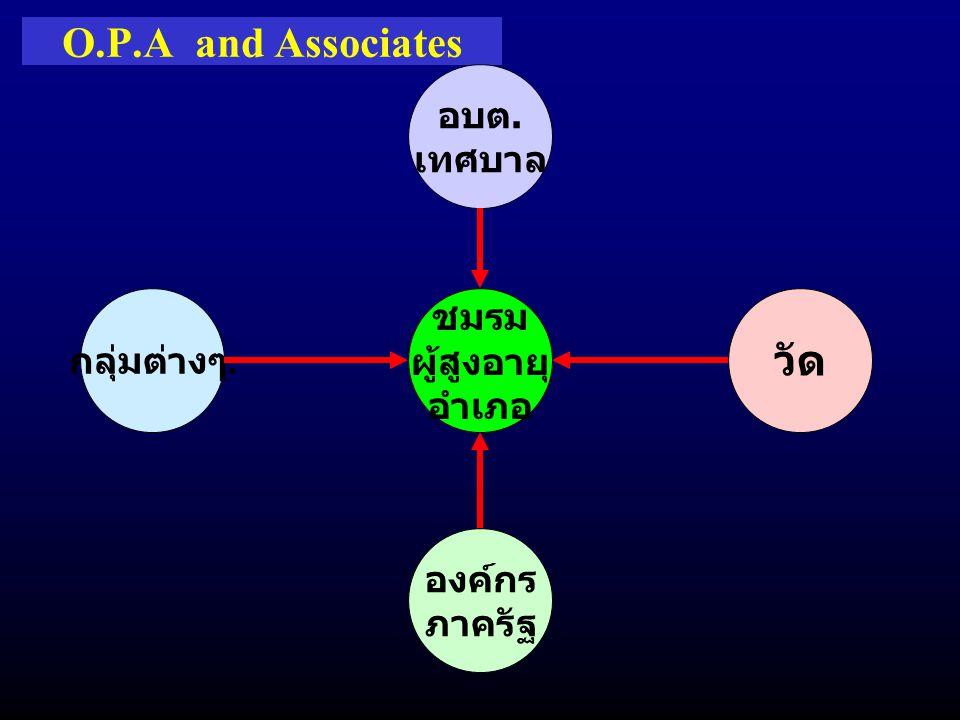 O.P.A and Associates วัด อบต. เทศบาล กลุ่มต่างๆ. ชมรม ผู้สูงอายุ อำเภอ