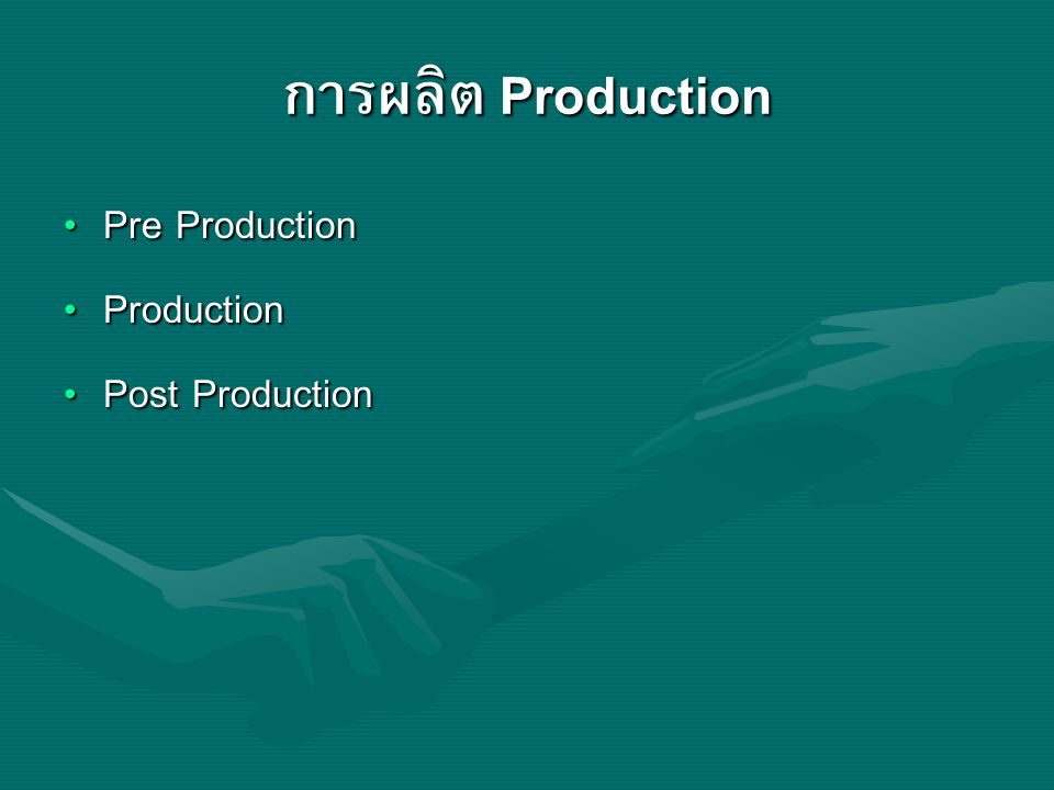 การผลิต Production Pre Production Production Post Production