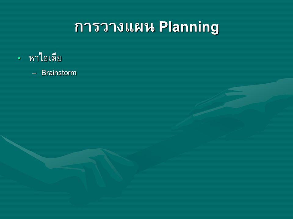 การวางแผน Planning หาไอเดีย Brainstorm