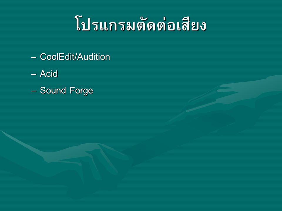 โปรแกรมตัดต่อเสียง CoolEdit/Audition Acid Sound Forge