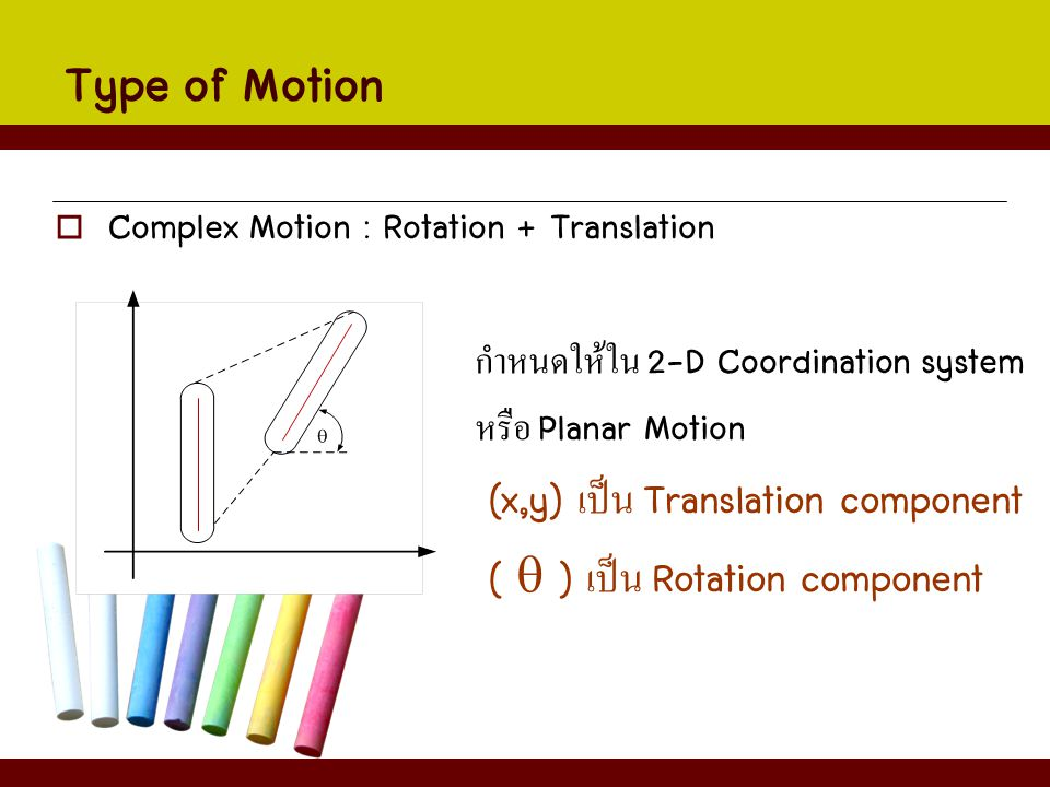 Type of Motion (x,y) เป็น Translation component
