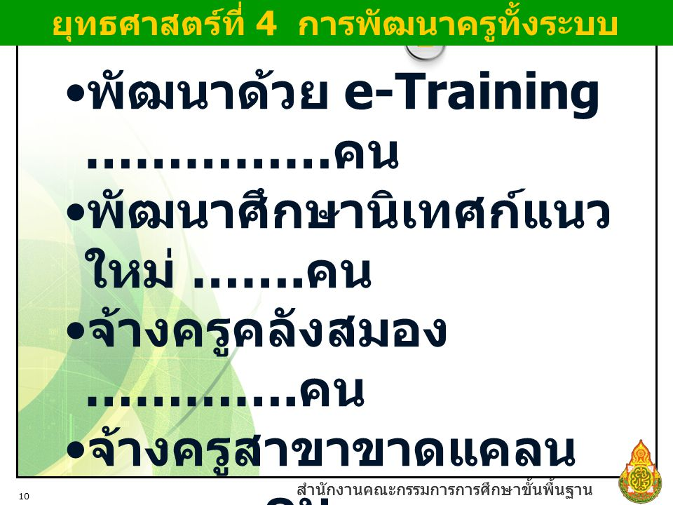 ยุทธศาสตร์ที่ 4 การพัฒนาครูทั้งระบบ
