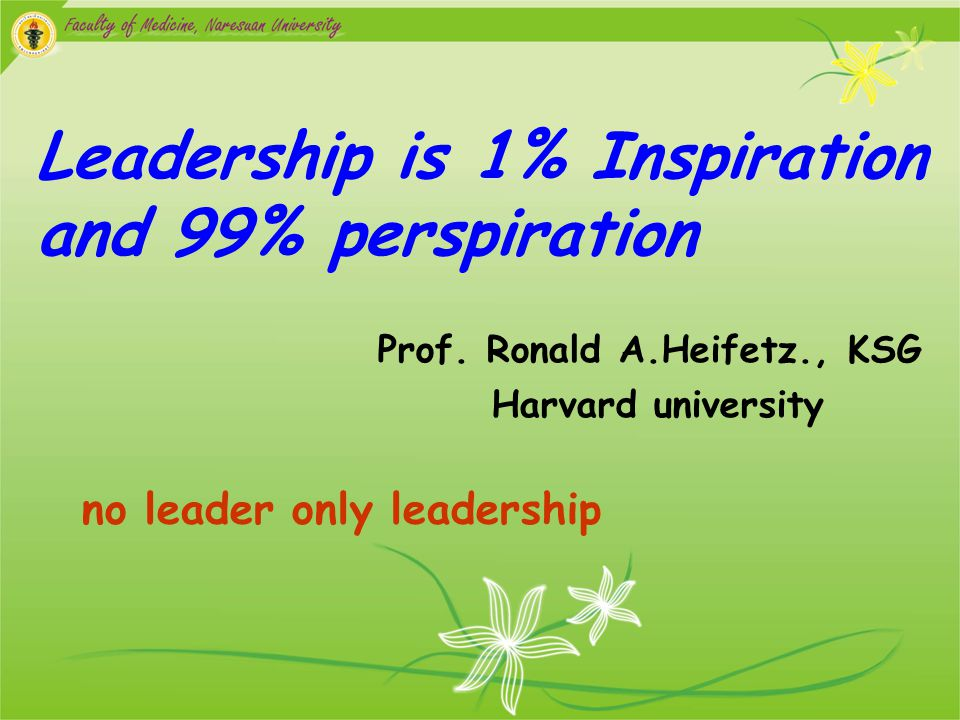 Leadership is 1% Inspiration and 99% perspiration