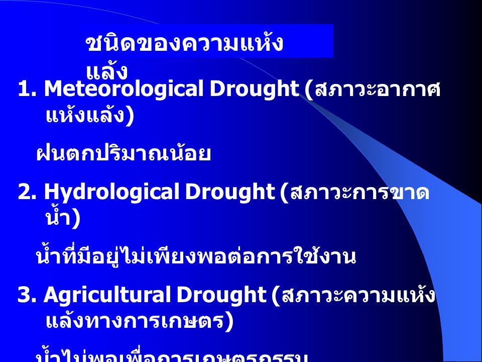 ชนิดของความแห้งแล้ง 1. Meteorological Drought (สภาวะอากาศแห้งแล้ง)