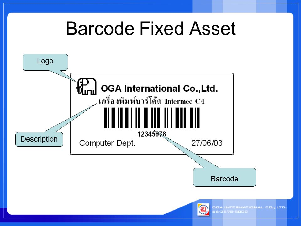 Barcode Fixed Asset Logo Description Barcode