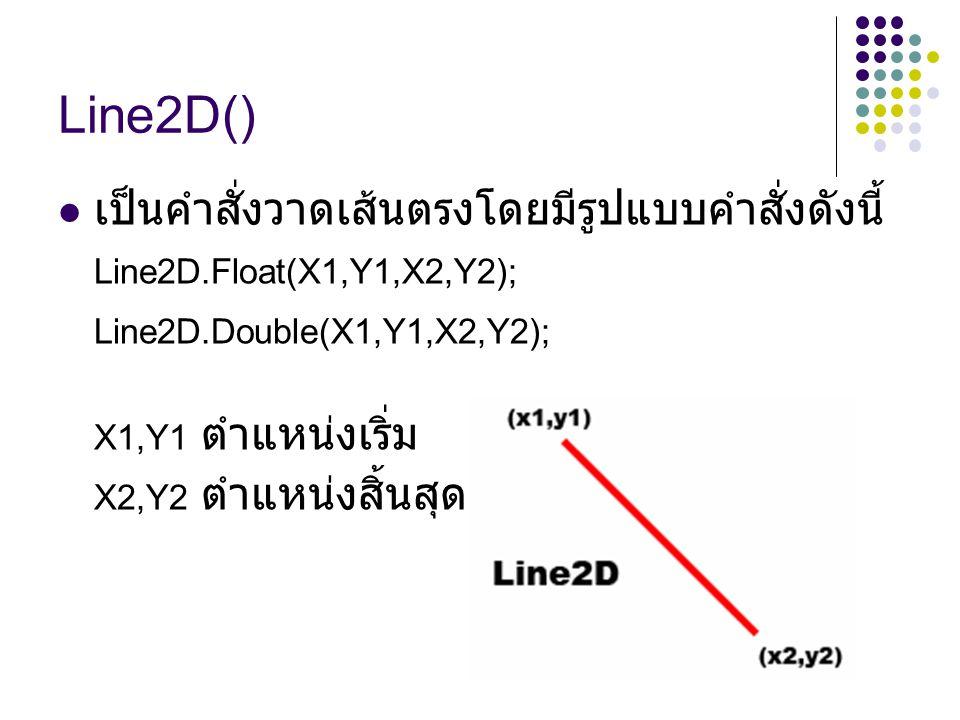 Line2D() เป็นคำสั่งวาดเส้นตรงโดยมีรูปแบบคำสั่งดังนี้