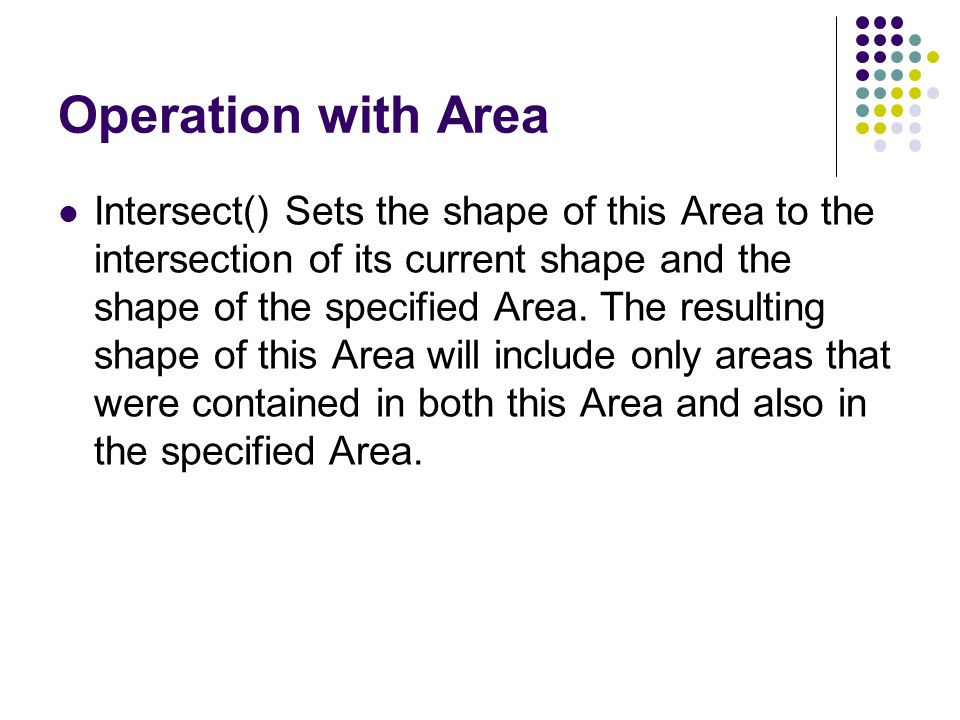 Operation with Area