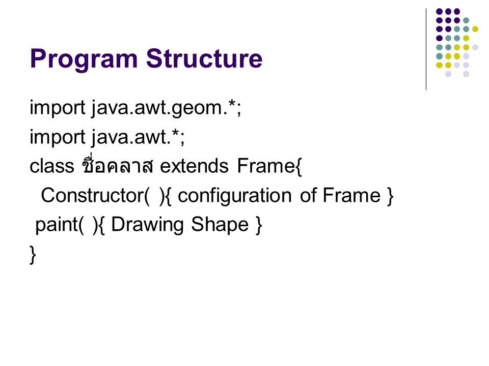 Program Structure import java.awt.geom.*; import java.awt.*;