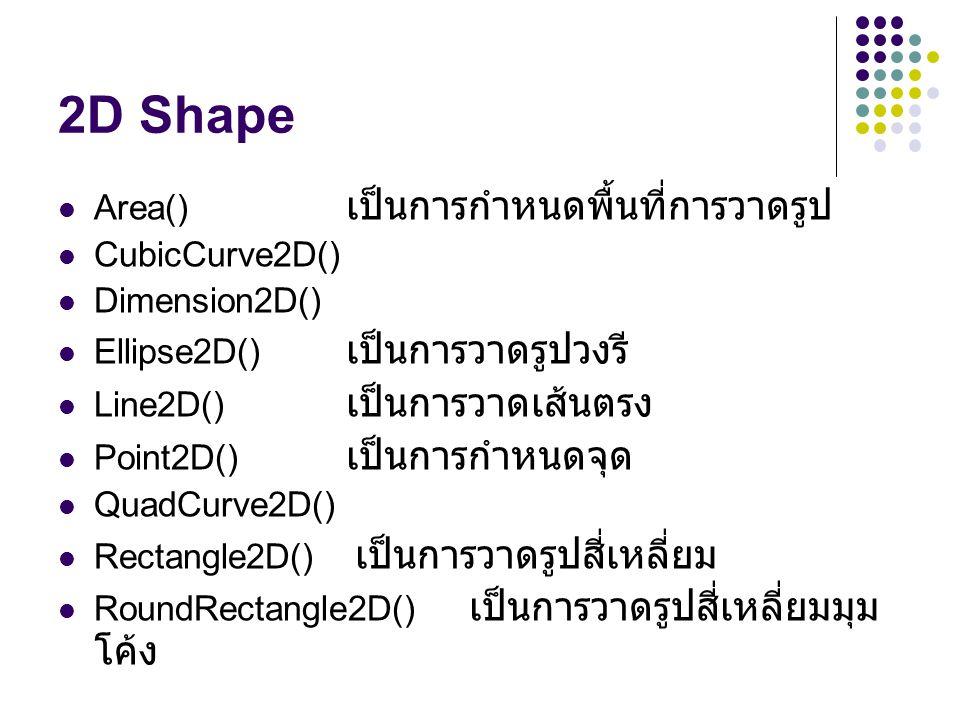 2D Shape Area() A เป็นการกำหนดพื้นที่การวาดรูป CubicCurve2D()