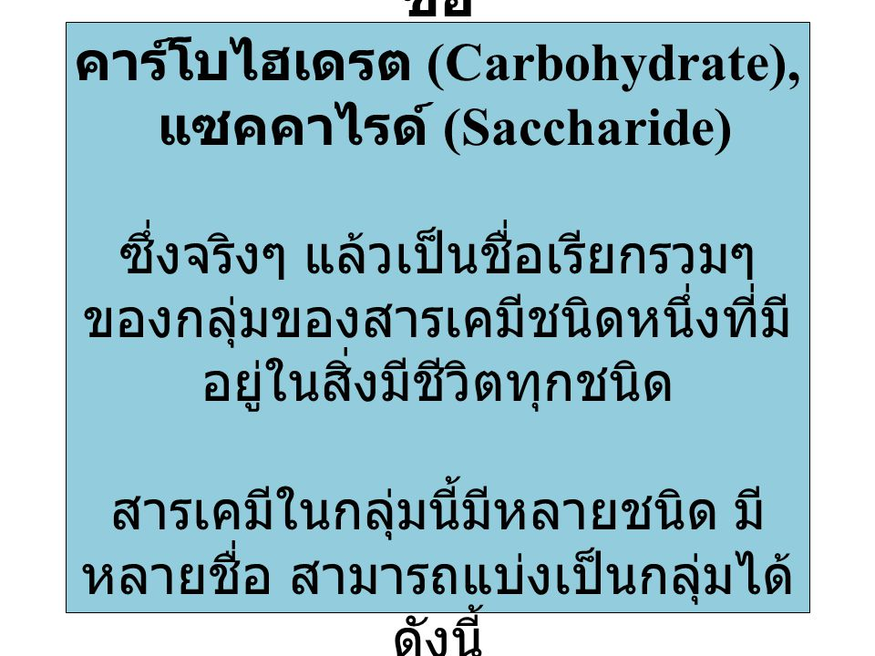 ชื่อ คาร์โบไฮเดรต (Carbohydrate), แซคคาไรด์ (Saccharide) ซึ่งจริงๆ แล้วเป็นชื่อเรียกรวมๆ ของกลุ่มของสารเคมีชนิดหนึ่งที่มีอยู่ในสิ่งมีชีวิตทุกชนิด สารเคมีในกลุ่มนี้มีหลายชนิด มีหลายชื่อ สามารถแบ่งเป็นกลุ่มได้ดังนี้