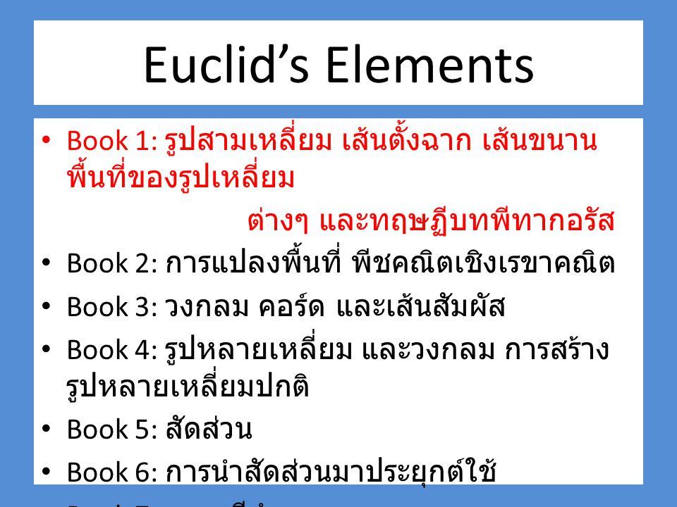 Euclid's Elements Book 1: รูปสามเหลี่ยม เส้นตั้งฉาก เส้นขนาน พื้นที่ของรูปเหลี่ยม. ต่างๆ และทฤษฏีบทพีทากอรัส.