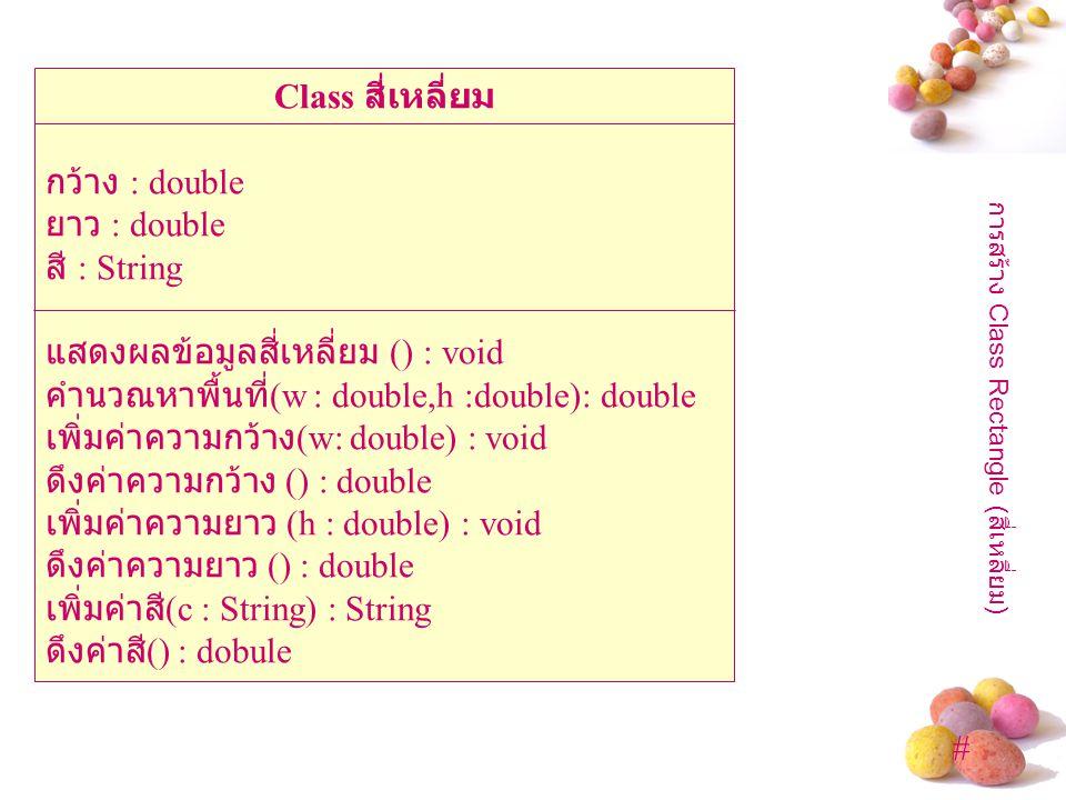 การสร้าง Class Rectangle (สี่เหลี่ยม)