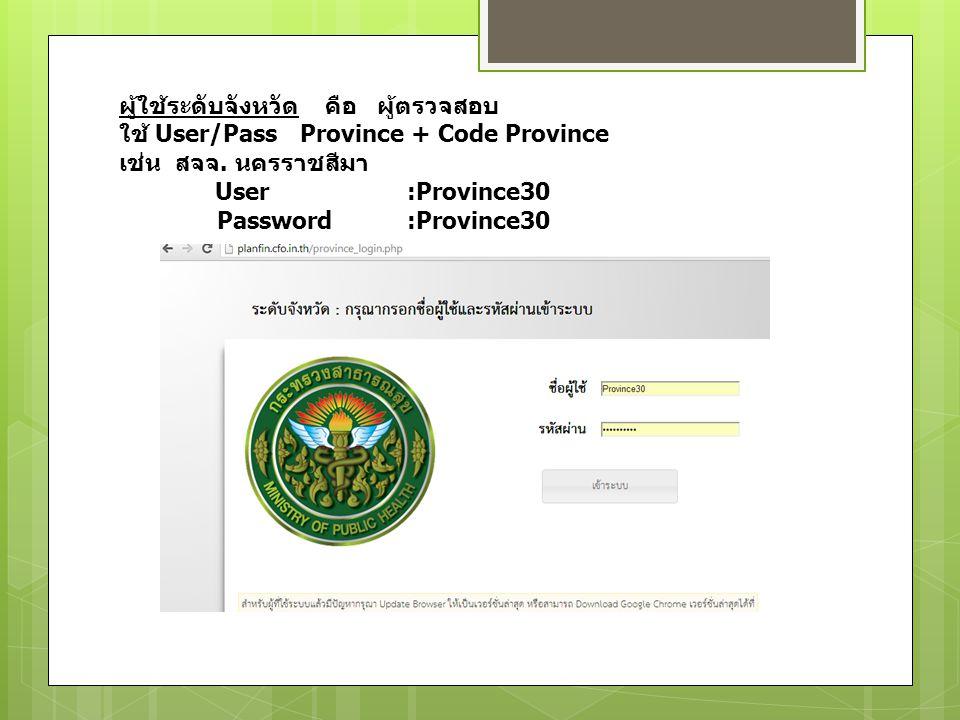 ผู้ใช้ระดับจังหวัด คือ ผู้ตรวจสอบ ใช้ User/Pass Province + Code Province เช่น สจจ.