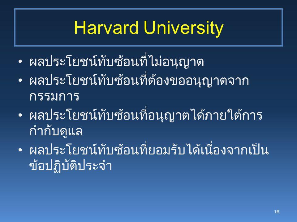 Harvard University ผลประโยชน์ทับซ้อนที่ไม่อนุญาต