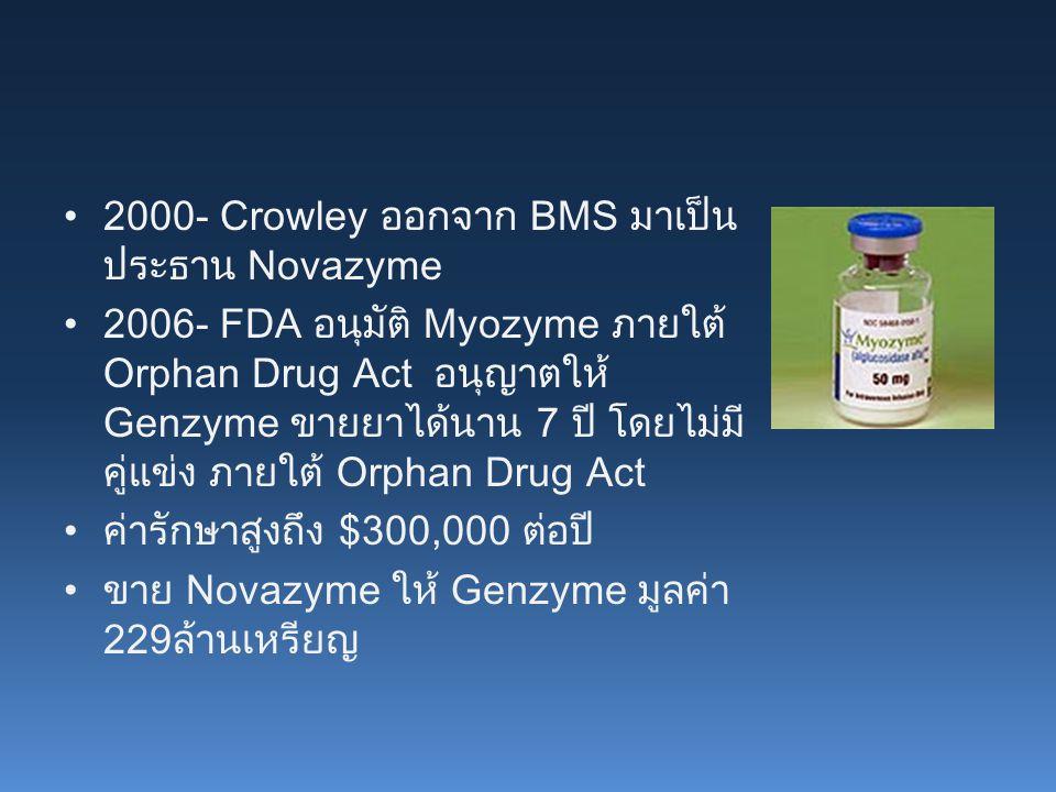 2000- Crowley ออกจาก BMS มาเป็นประธาน Novazyme