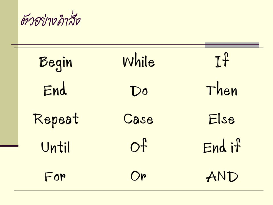 Begin While If End Do Then Repeat Case Else Until Of End if For Or AND