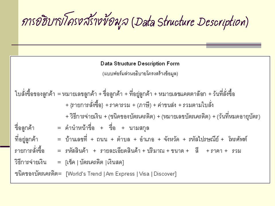 การอธิบายโครงสร้างข้อมูล (Data Structure Description)