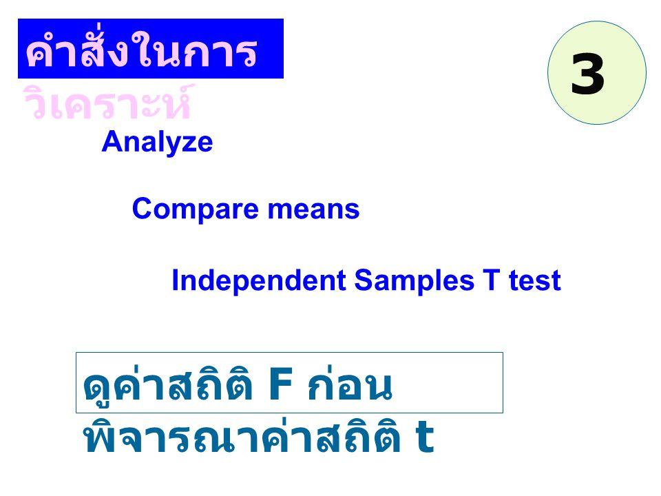 3 คำสั่งในการวิเคราะห์ ดูค่าสถิติ F ก่อนพิจารณาค่าสถิติ t Analyze
