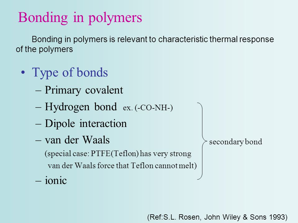 Bonding in polymers Type of bonds Primary covalent