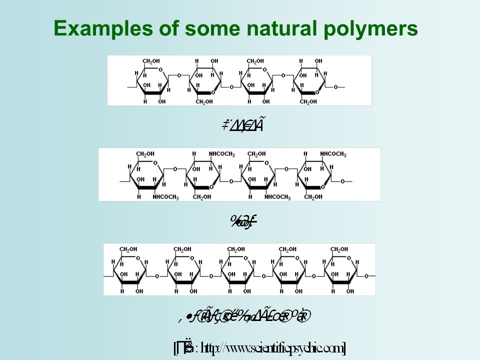 Examples of some natural polymers