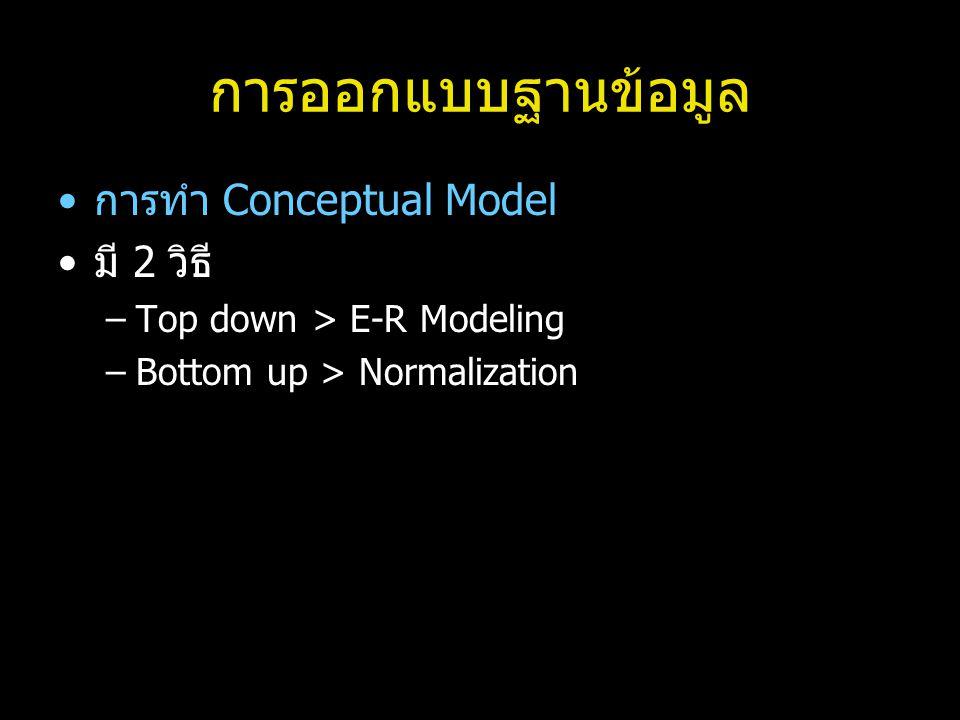 การออกแบบฐานข้อมูล การทำ Conceptual Model มี 2 วิธี