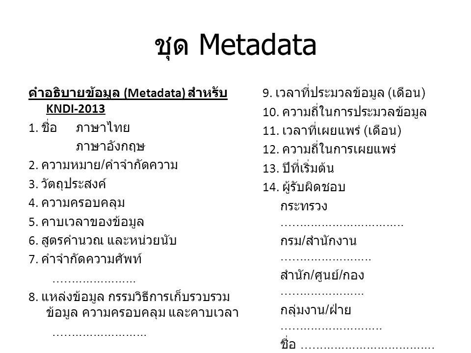 ชุด Metadata