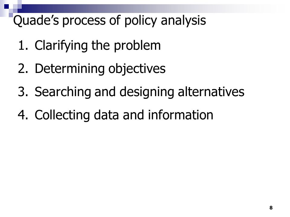 Quade's process of policy analysis