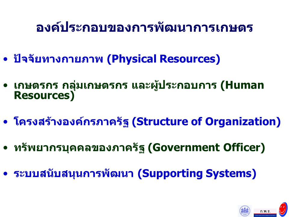 องค์ประกอบของการพัฒนาการเกษตร