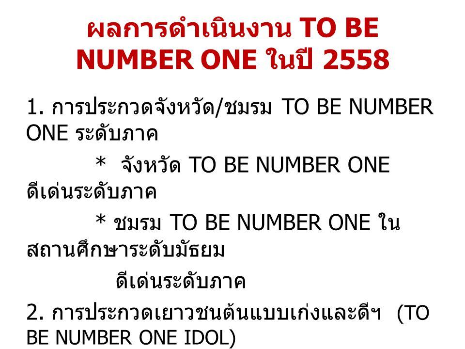 ผลการดำเนินงาน TO BE NUMBER ONE ในปี 2558