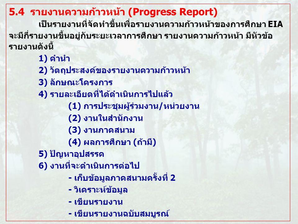 5.4 รายงานความก้าวหน้า (Progress Report)