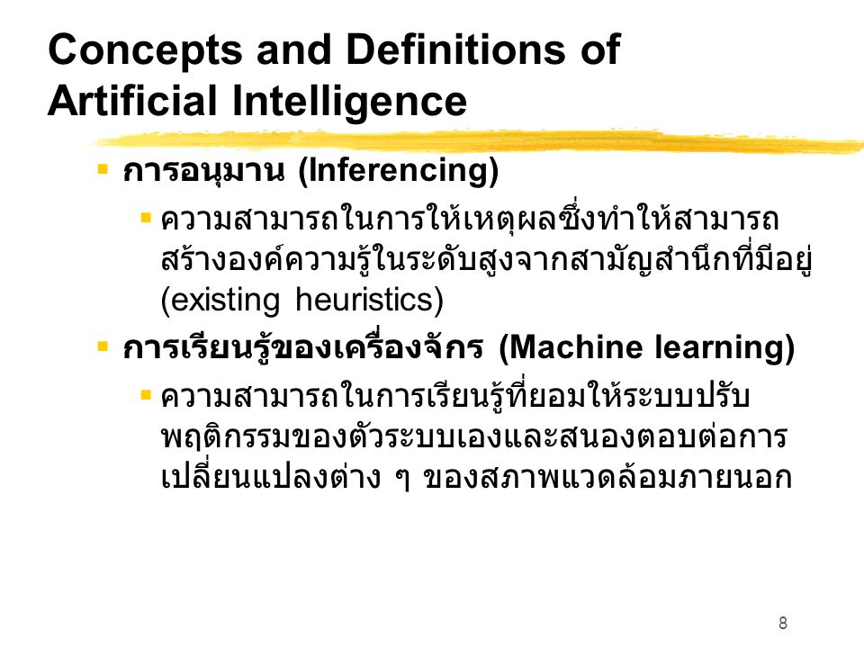 Concepts and Definitions of Artificial Intelligence