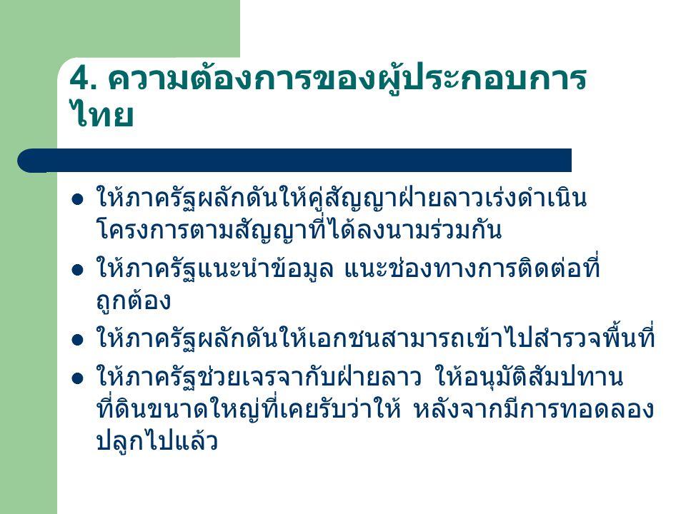 4. ความต้องการของผู้ประกอบการไทย