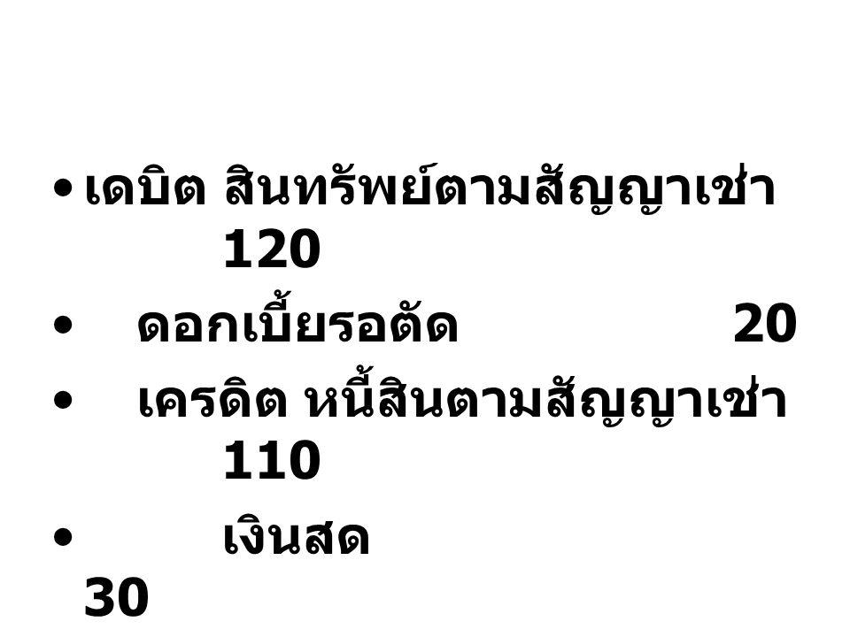 เดบิต สินทรัพย์ตามสัญญาเช่า 120