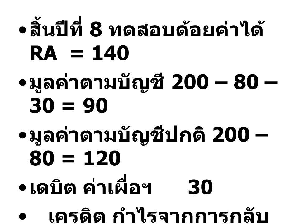 สิ้นปีที่ 8 ทดสอบด้อยค่าได้ RA = 140
