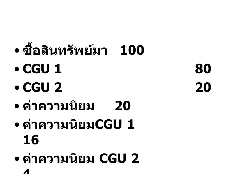ซื้อสินทรัพย์มา 100 CGU 1 80. CGU 2 20.