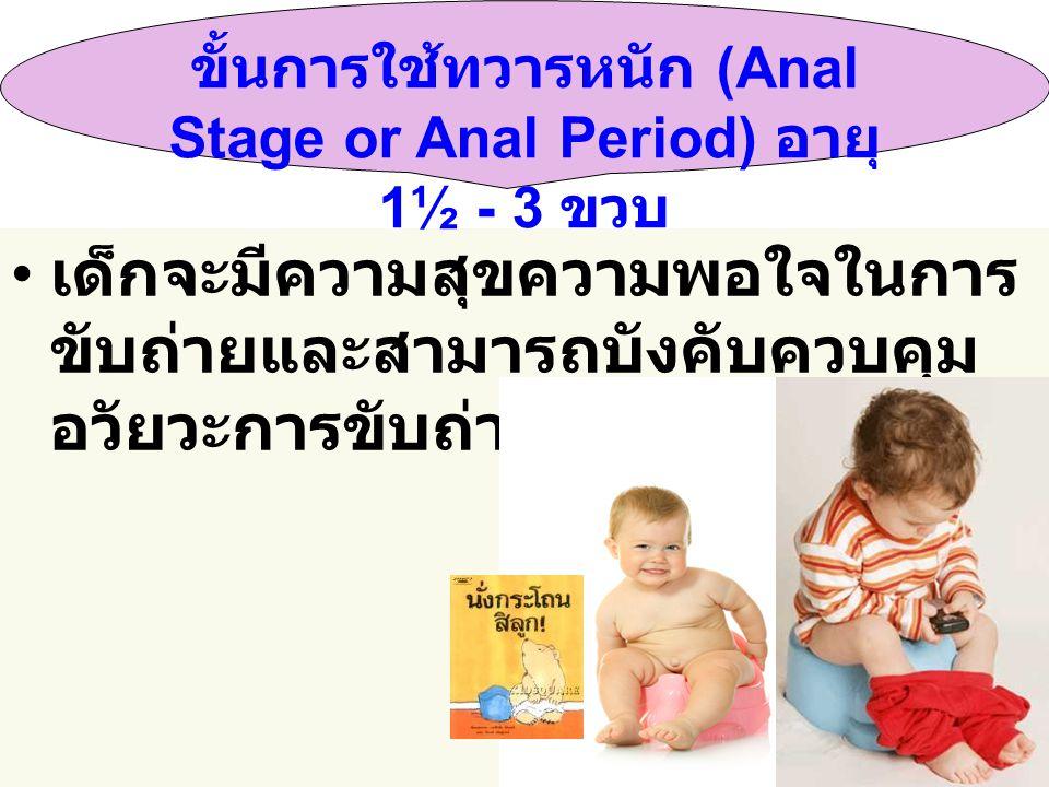 ขั้นการใช้ทวารหนัก (Anal Stage or Anal Period) อายุ 1½ - 3 ขวบ