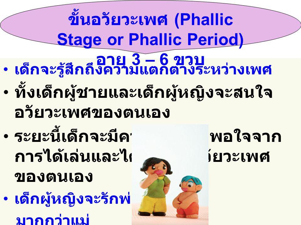 ขั้นอวัยวะเพศ (Phallic Stage or Phallic Period) อายุ 3 – 6 ขวบ