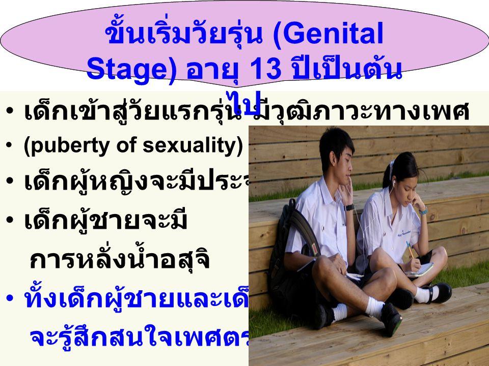 ขั้นเริ่มวัยรุ่น (Genital Stage) อายุ 13 ปีเป็นต้นไป