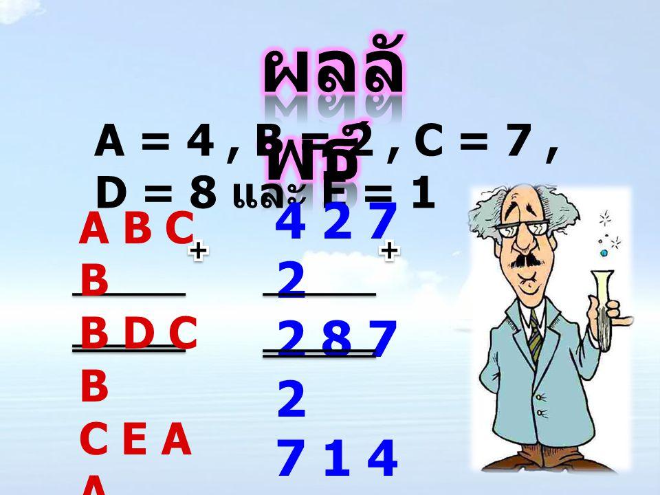 ผลลัพธ์ A = 4 , B = 2 , C = 7 , D = 8 และ E = 1 4 2 7 2 2 8 7 2 7 1 4 4 A B C B B D C B C E A A