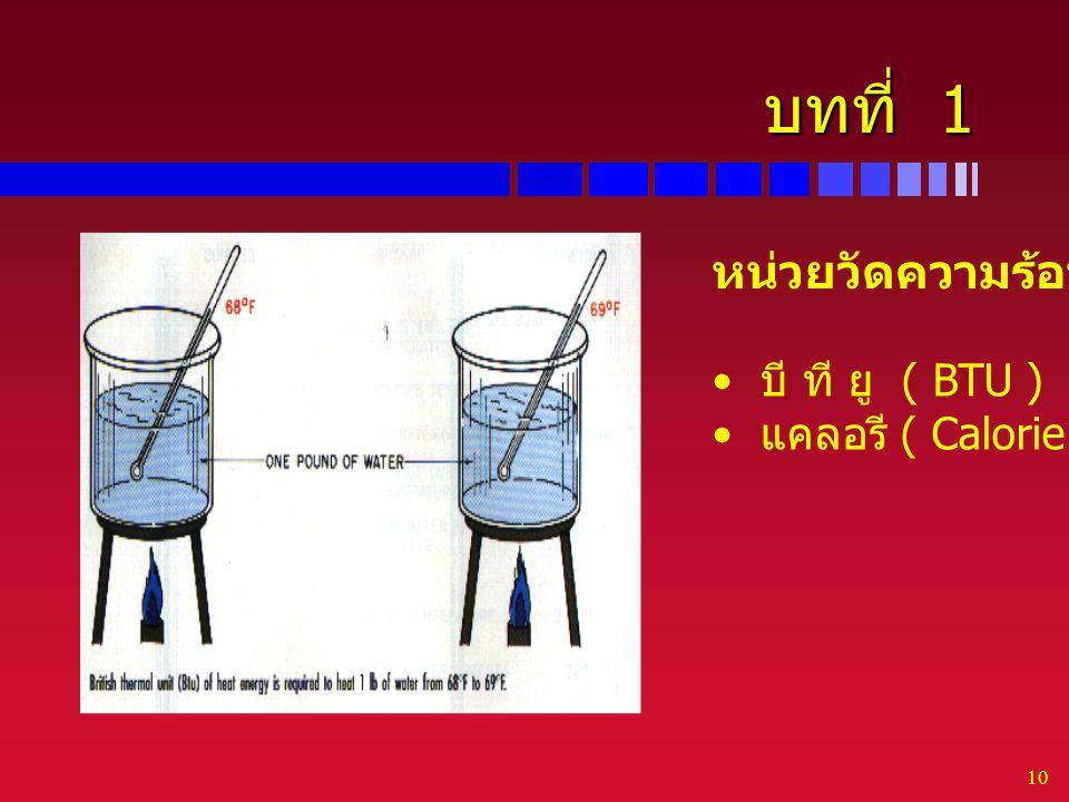 บทที่ 1 หน่วยวัดความร้อน บี ที ยู ( BTU ) แคลอรี ( Calorie )
