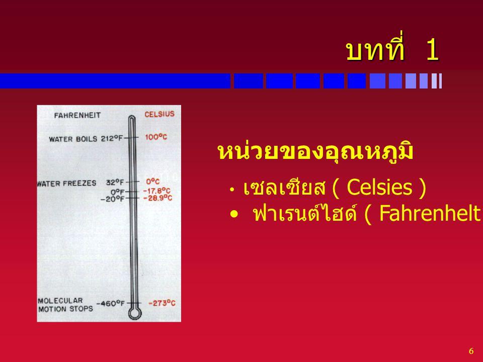 บทที่ 1 หน่วยของอุณหภูมิ ฟาเรนต์ไฮด์ ( Fahrenhelt )