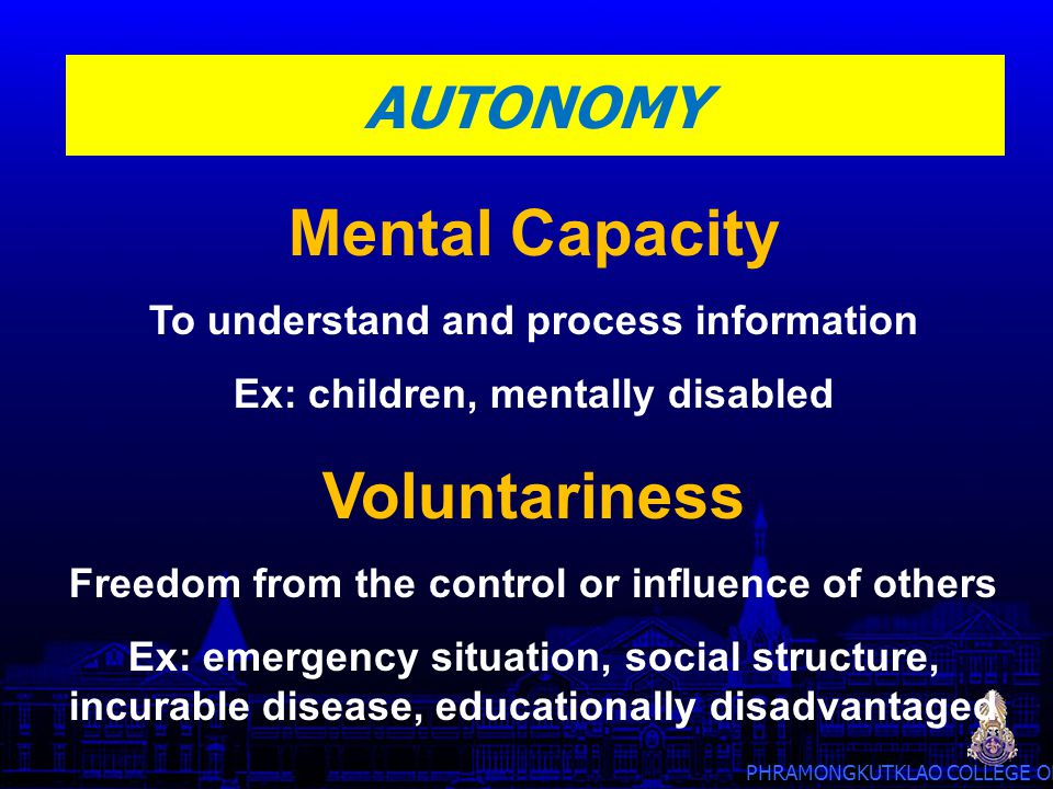 Mental Capacity Voluntariness
