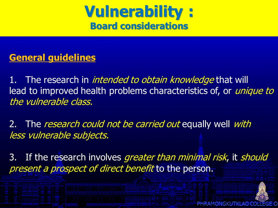 Vulnerability : Board considerations General guidelines