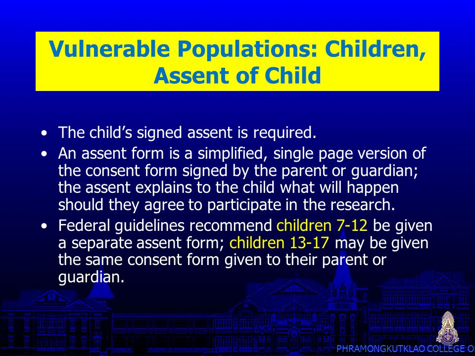 Vulnerable Populations: Children, Assent of Child