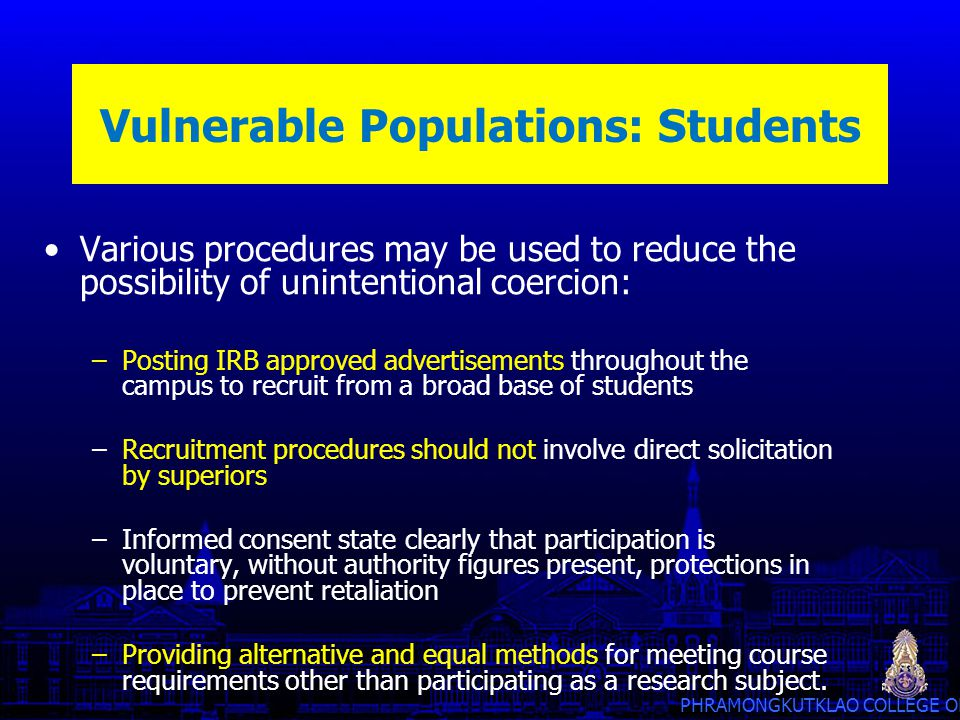 Vulnerable Populations: Students
