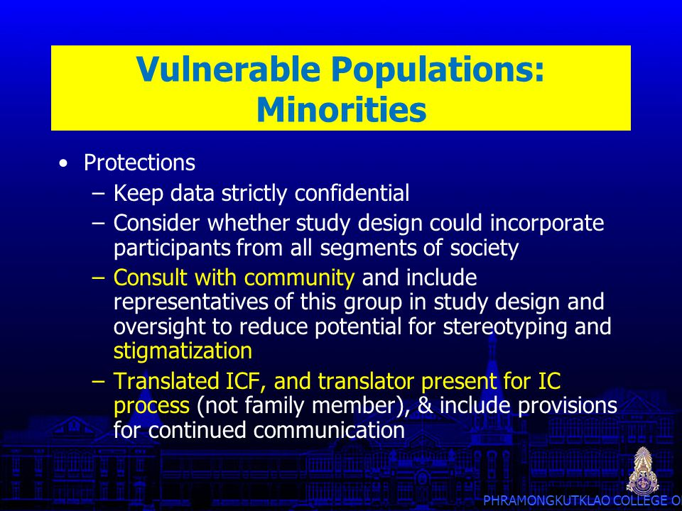 Vulnerable Populations: Minorities