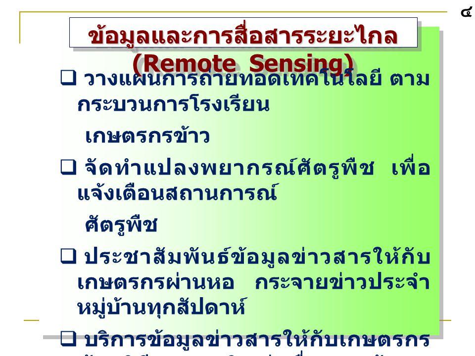 ข้อมูลและการสื่อสารระยะไกล (Remote Sensing)