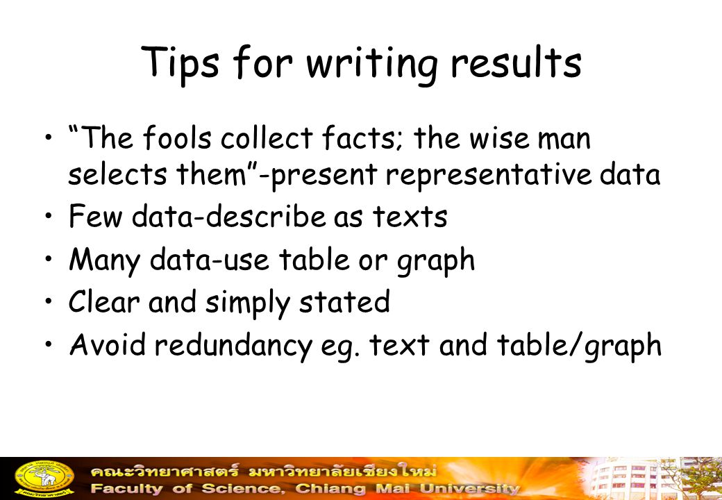 Tips for writing results